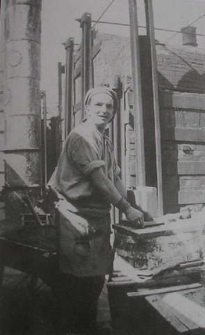 Mr. Frank R. Jones working at Cae-llo Brick Works in the early 1940's