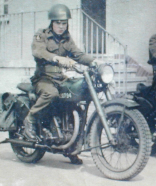 Frankie on a Royal Enfield 500ES Bullet Germany.
